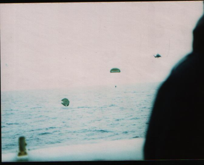 Picking up personnel parachuting in