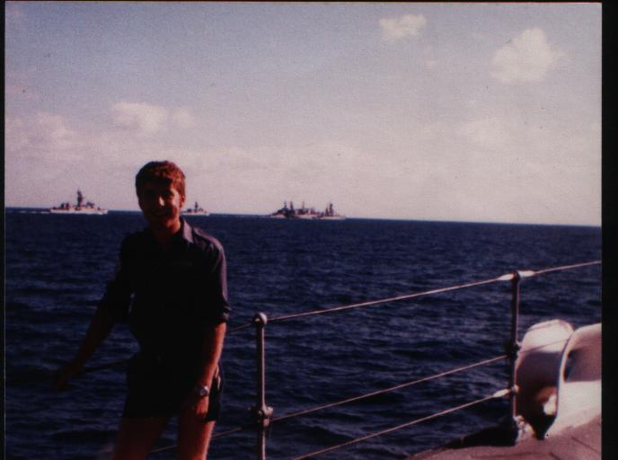 Scouse Nixon Arabian Sea 1981 Part of USS Coral Sea Battle Group in background